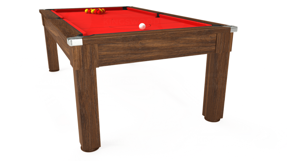 7ft Windsor Pool Dining Table in Dark Walnut with Hainsworth Smart Red cloth delivered and installed - £1,090.00