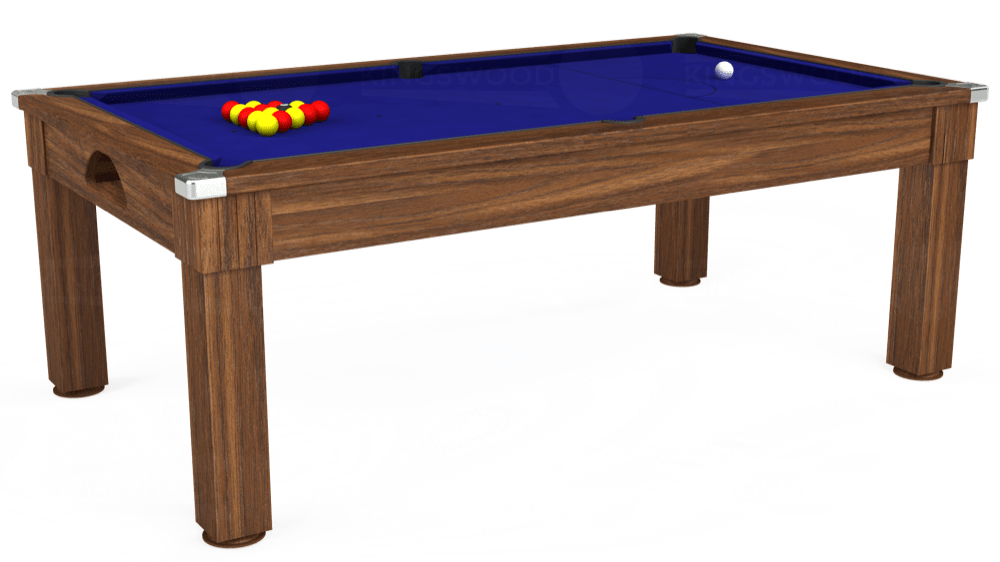7ft Windsor Pool Dining Table in Dark Walnut with Hainsworth Smart Royal Blue cloth delivered and installed - £1,090.00