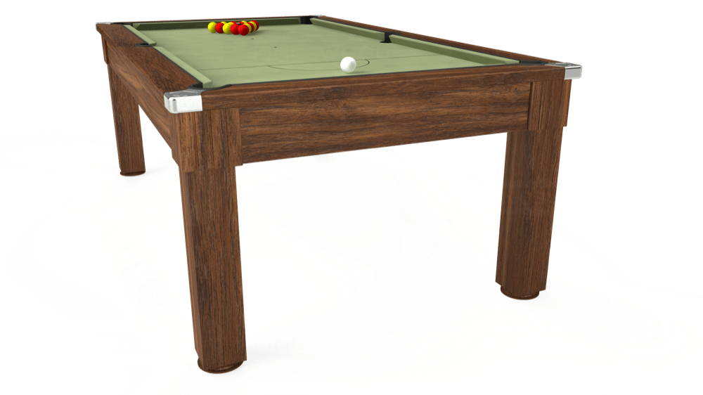 7ft Windsor Pool Dining Table in Dark Walnut with Hainsworth Smart Sage cloth delivered and installed - £1,090.00