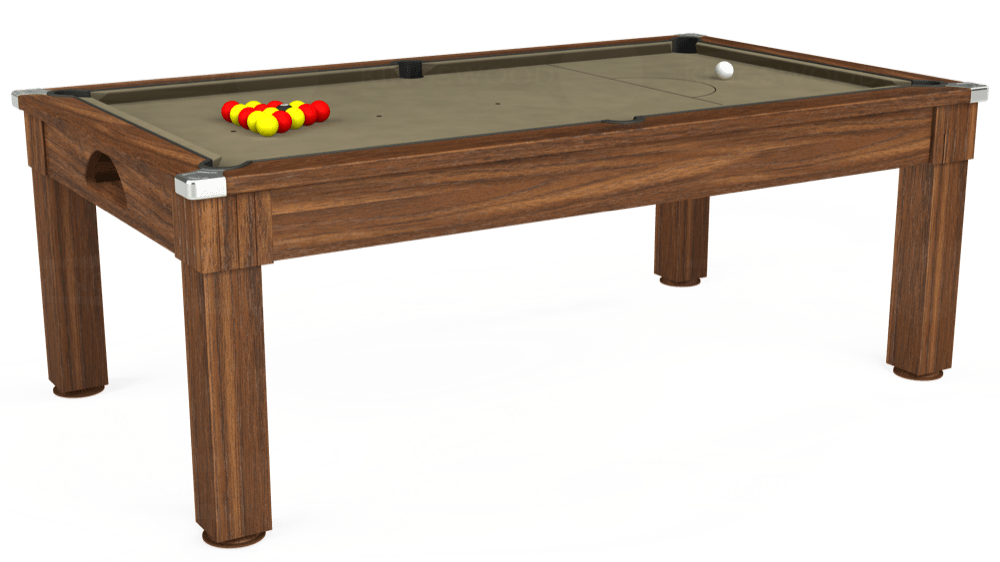 7ft Windsor Pool Dining Table in Dark Walnut with Hainsworth Smart Taupe cloth delivered and installed - £1,090.00