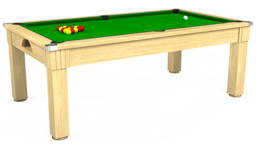 7ft Windsor Pool Dining Table in Light Oak with Standard Green cloth delivered and installed - £1,050.00