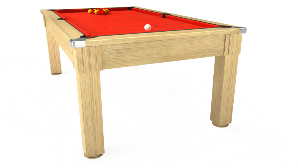 7ft Windsor Pool Dining Table in Light Oak with Hainsworth Elite-Pro Orange cloth delivered and installed - £1,100.00