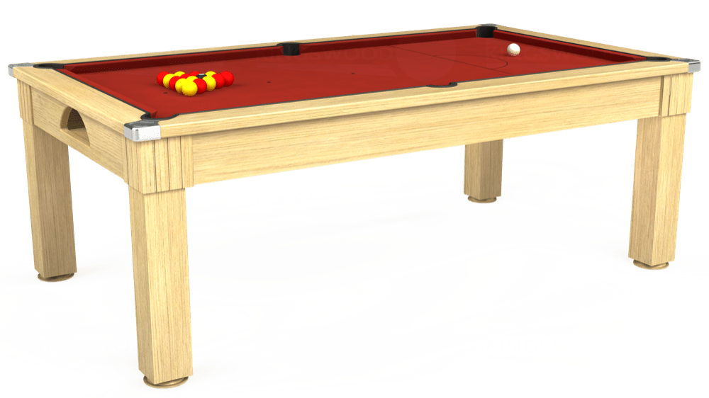 7ft Windsor Pool Dining Table in Light Oak with Hainsworth Elite-Pro Red cloth delivered and installed - £1,090.00