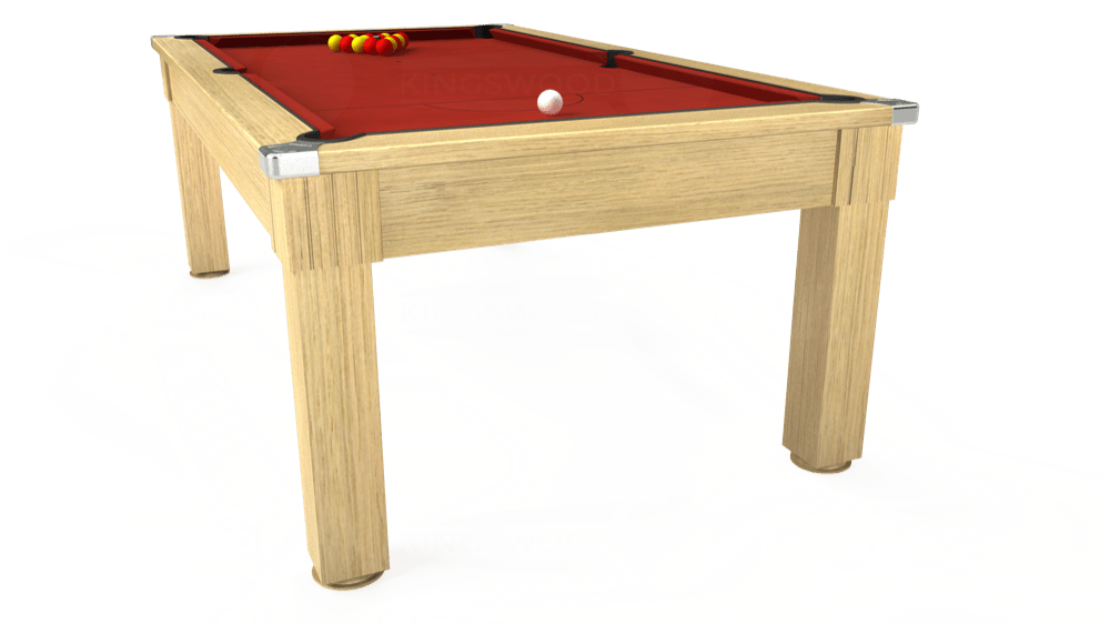 7ft Windsor Pool Dining Table in Light Oak with Hainsworth Elite-Pro Red cloth delivered and installed - £1,100.00