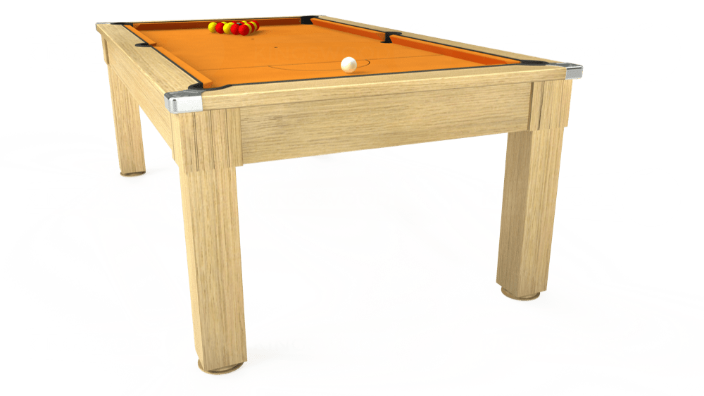 7ft Windsor Pool Dining Table in Light Oak with Hainsworth Smart Gold cloth delivered and installed - £1,150.00