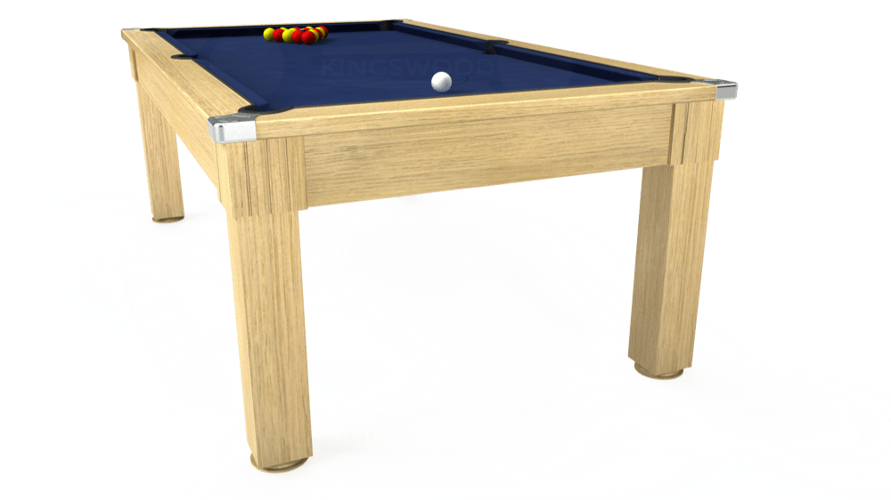 7ft Windsor Pool Dining Table in Light Oak with Hainsworth Smart Royal Navy cloth delivered and installed - £1,090.00