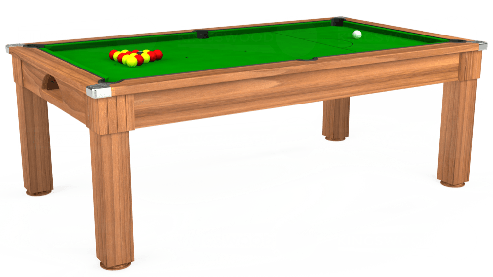 7ft Windsor Pool Dining Table in Light Walnut with Standard Green cloth delivered and installed - £990.00