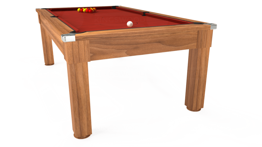 7ft Windsor Pool Dining Table in Light Walnut with Hainsworth Elite-Pro Red cloth delivered and installed - £1,090.00