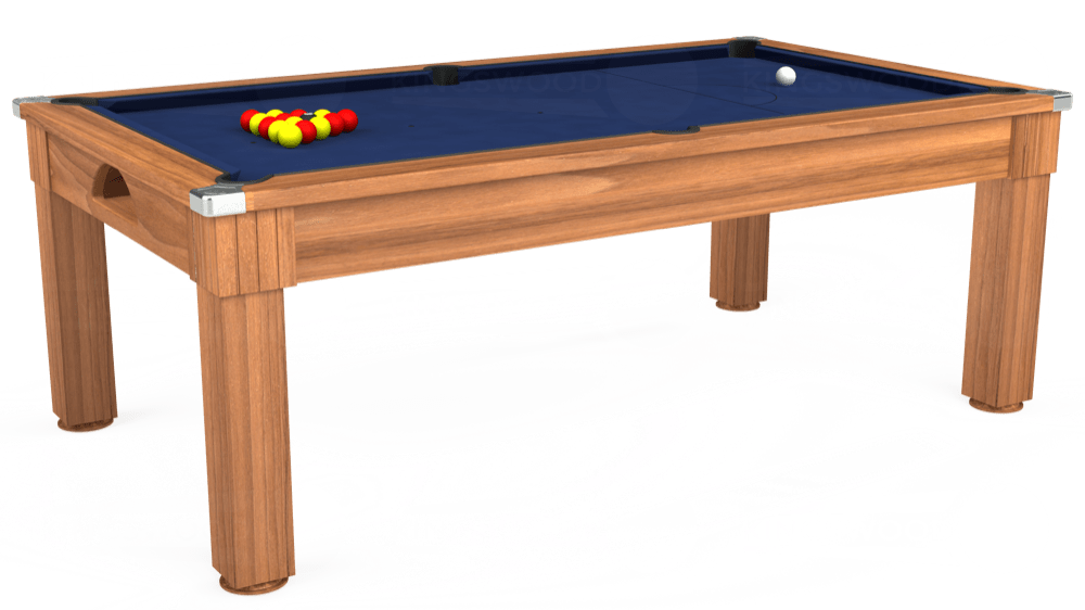7ft Windsor Pool Dining Table in Light Walnut with Hainsworth Smart Royal Navy cloth delivered and installed - £1,100.00