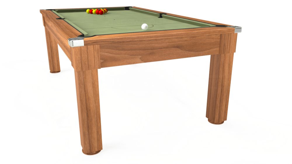 7ft Windsor Pool Dining Table in Light Walnut with Hainsworth Smart Sage cloth delivered and installed - £1,090.00