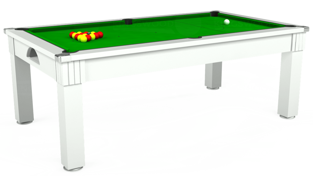 7ft Windsor Pool Dining Table in White with Standard Green cloth delivered and installed - £925.00