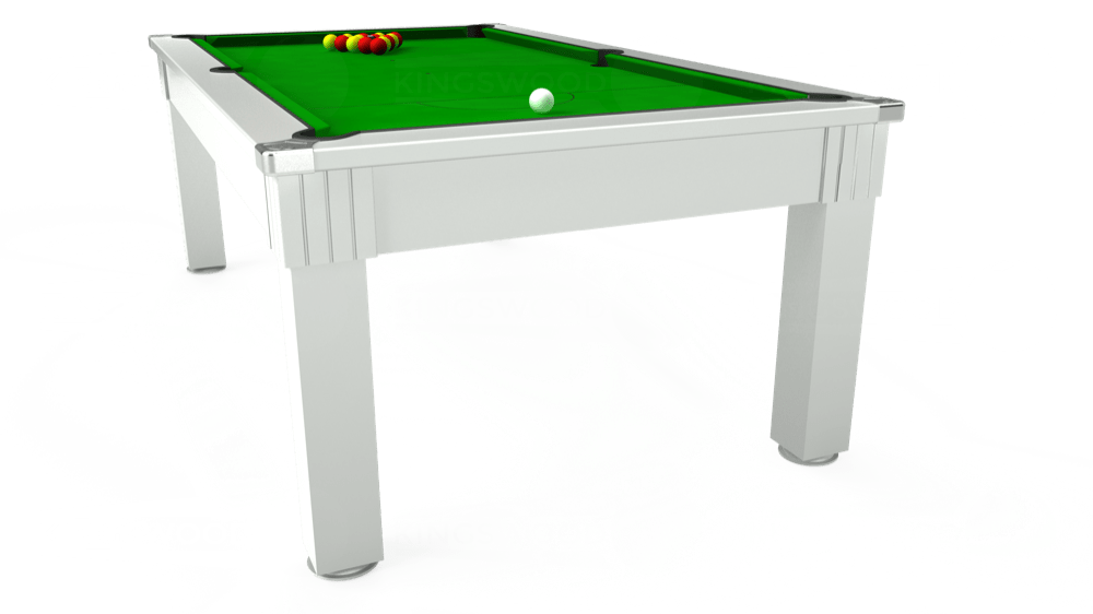 7ft Windsor Pool Dining Table in White with Standard Green cloth delivered and installed - £1,050.00