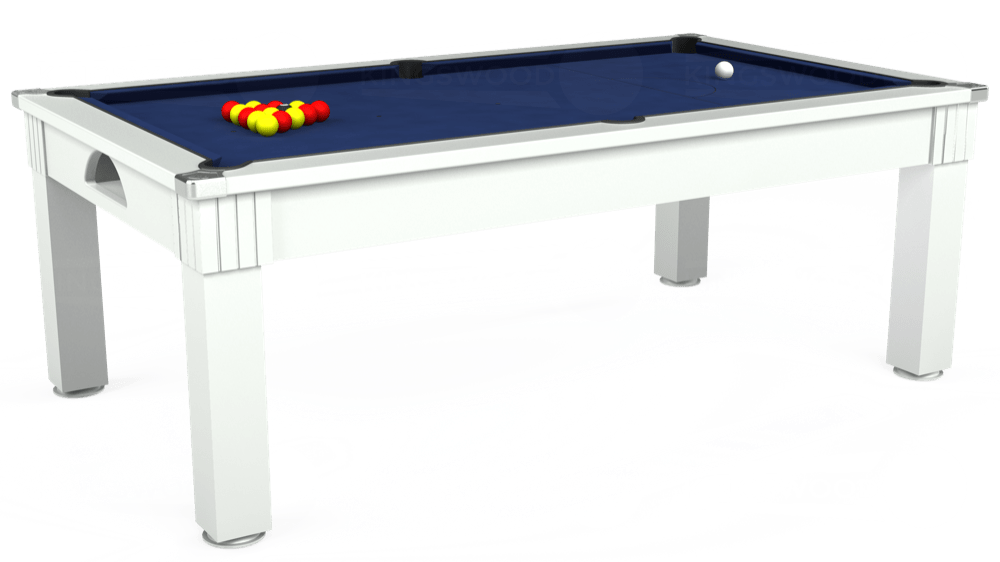 7ft Windsor Pool Dining Table in White with Hainsworth Smart Royal Navy cloth delivered and installed - £1,100.00