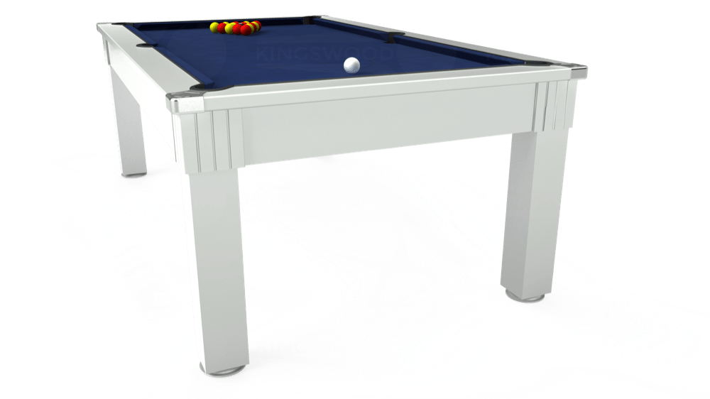 7ft Windsor Pool Dining Table in White with Hainsworth Smart Royal Navy cloth delivered and installed - £1,090.00