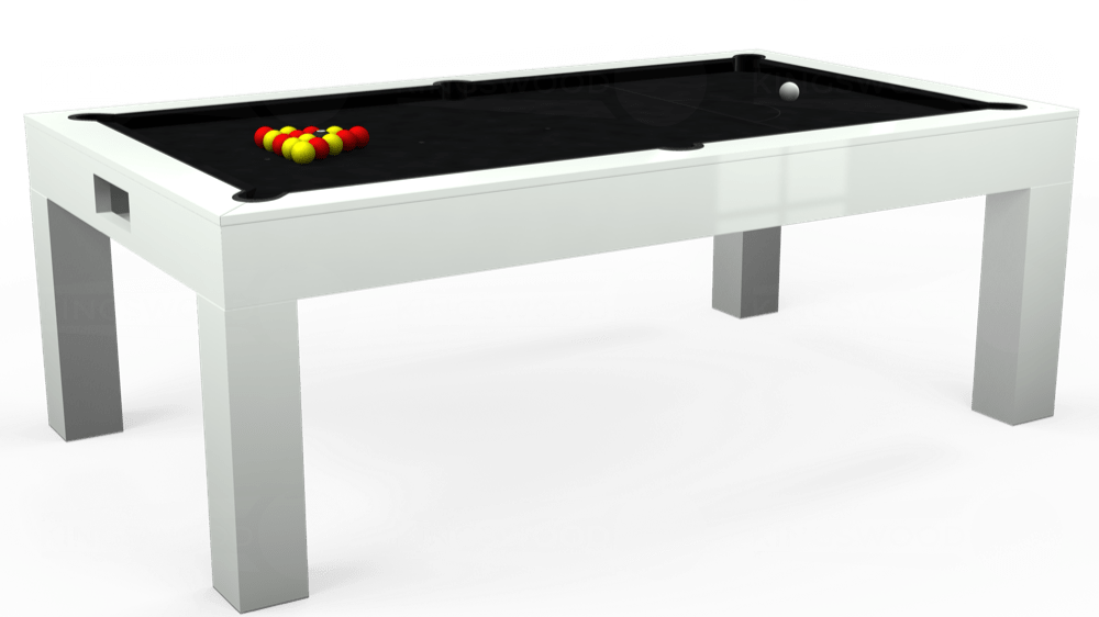 7ft Kingswood Aspen Pool Dining Table in Gloss White with Hainsworth Smart Black cloth delivered and installed - £2,200.00