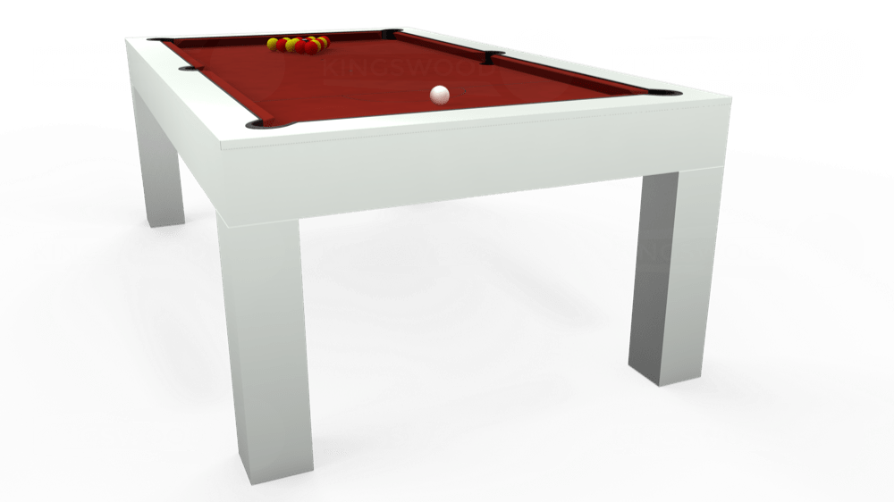 7ft Kingswood Aspen Pool Dining Table in Gloss White with Hainsworth Smart Cherry cloth delivered and installed - £2,200.00