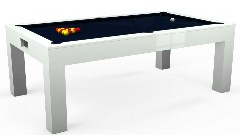 7ft Kingswood Aspen Pool Dining Table in Gloss White with Hainsworth Smart French Navy cloth delivered and installed - £2,200.00