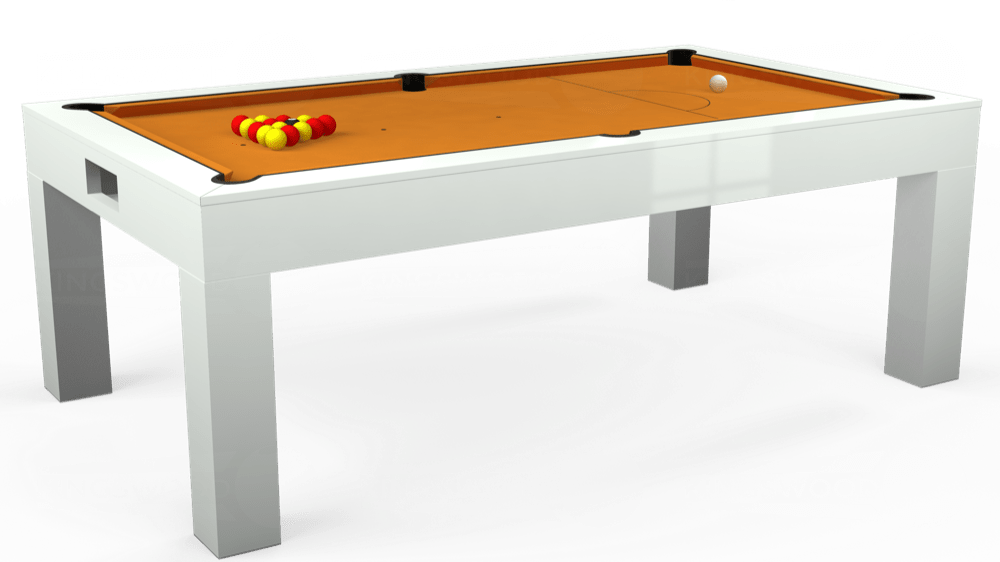 7ft Kingswood Aspen Pool Dining Table in Gloss White with Hainsworth Smart Gold cloth delivered and installed - £2,200.00