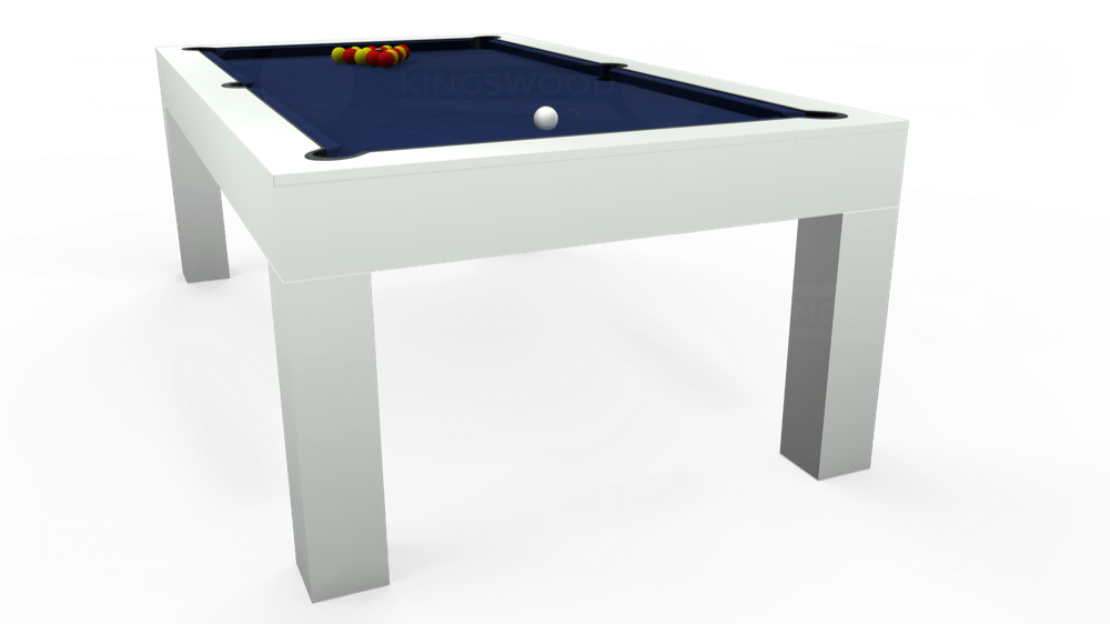 7ft Kingswood Aspen Pool Dining Table in Gloss White with Hainsworth Smart Royal Navy cloth delivered and installed - £2,200.00
