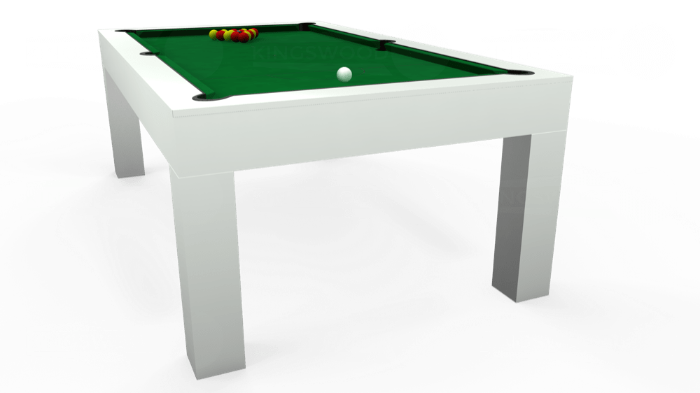7ft Kingswood Aspen Pool Dining Table in Gloss White with Hainsworth Smart Olive cloth delivered and installed - £2,200.00