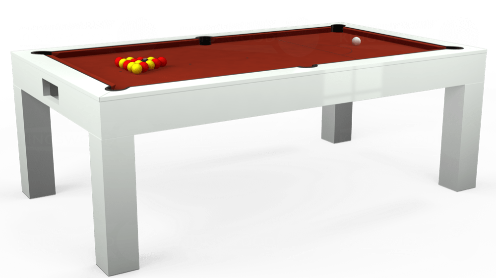 7ft Kingswood Aspen Pool Dining Table in Gloss White with Hainsworth Smart Paprika cloth delivered and installed - £2,200.00