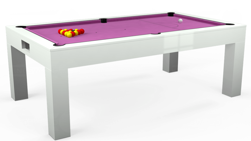 7ft Kingswood Aspen Pool Dining Table in Gloss White with Hainsworth Smart Pink cloth delivered and installed - £2,200.00