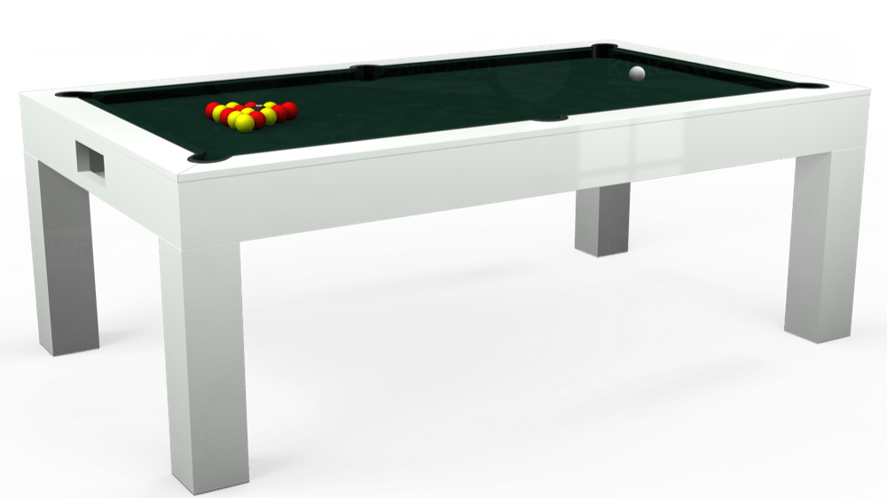 7ft Kingswood Aspen Pool Dining Table in Gloss White with Hainsworth Smart Ranger Green cloth delivered and installed - £2,200.00