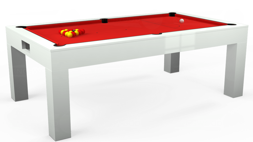 7ft Kingswood Aspen Pool Dining Table in Gloss White with Hainsworth Smart Red cloth delivered and installed - £2,200.00