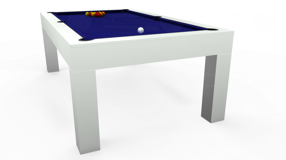 7ft Kingswood Aspen Pool Dining Table in Gloss White with Hainsworth Smart Royal Blue cloth delivered and installed - £2,200.00