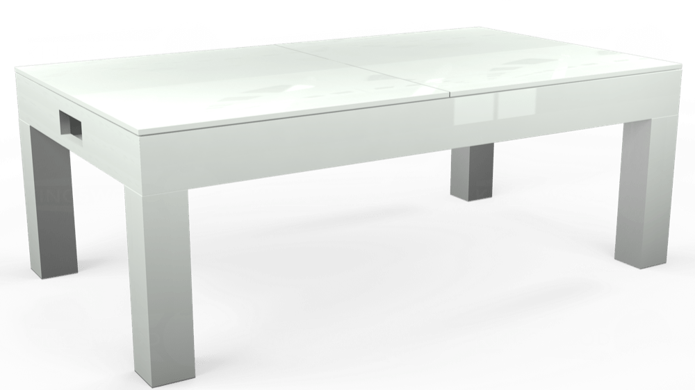 7ft Kingswood Aspen Pool Dining Table in Gloss White with Hainsworth Smart Silver cloth delivered and installed - £2,200.00