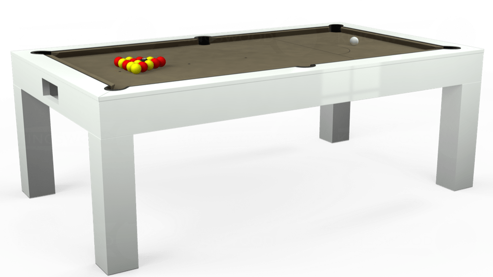 7ft Kingswood Aspen Pool Dining Table in Gloss White with Hainsworth Smart Taupe cloth delivered and installed - £2,200.00