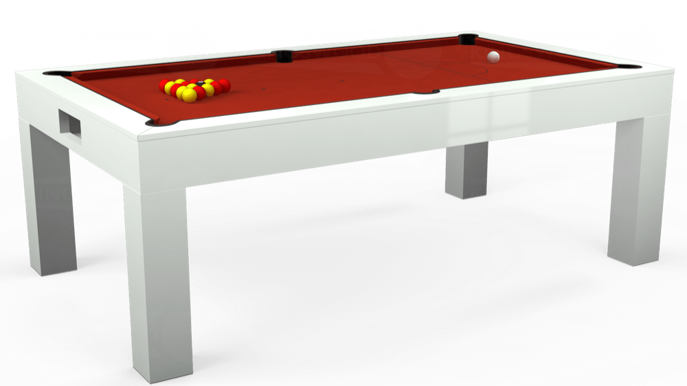 7ft Kingswood Aspen Pool Dining Table in Gloss White with Hainsworth Smart Windsor Red cloth delivered and installed - £1,150.00