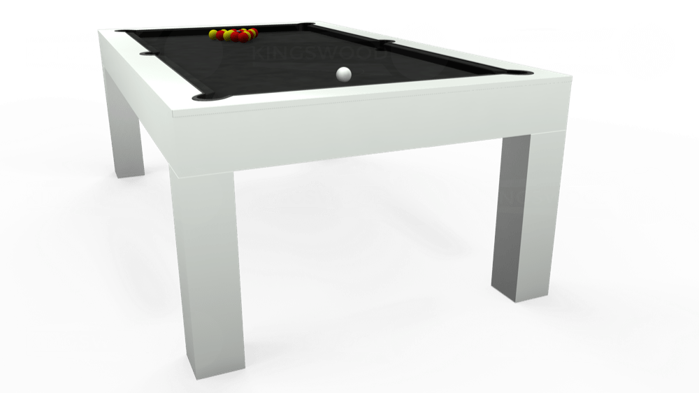 7ft Kingswood Aspen Pool Dining Table in Gloss White with Hainsworth Elite-Pro Bankers Grey cloth delivered and installed - £2,100.00