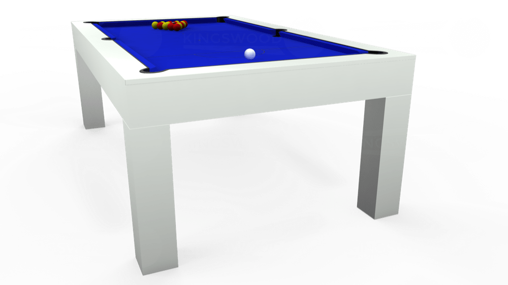 7ft Kingswood Aspen Pool Dining Table in Gloss White with Standard Blue cloth delivered and installed - £2,200.00