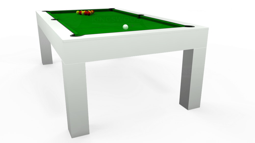 7ft Kingswood Aspen Pool Dining Table in Gloss White with Standard Green cloth delivered and installed - £2,200.00