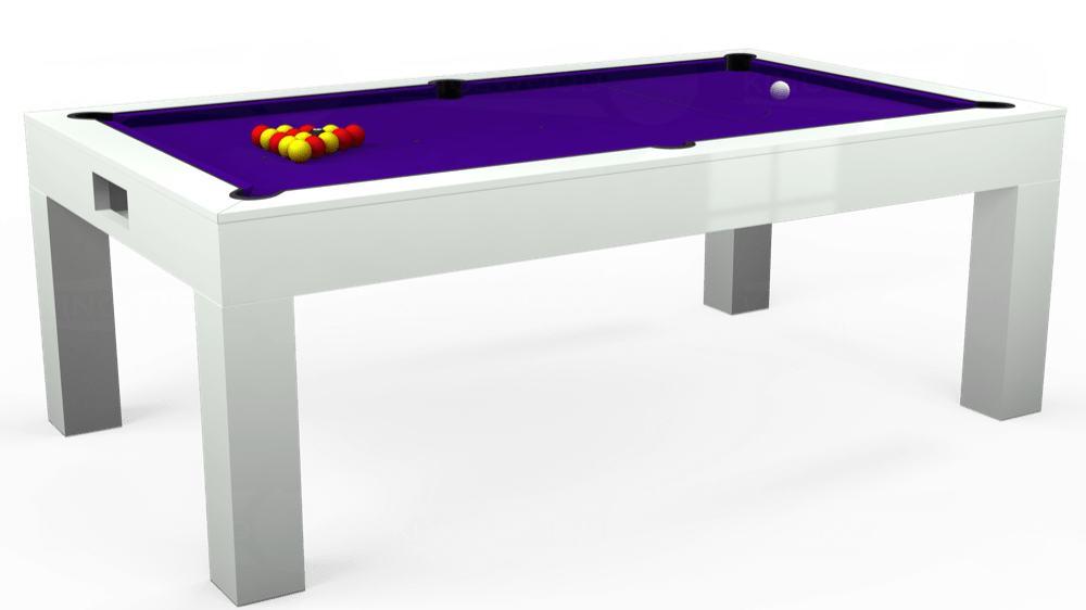 7ft Kingswood Aspen Pool Dining Table in Gloss White with Standard Purple cloth delivered and installed - £2,200.00