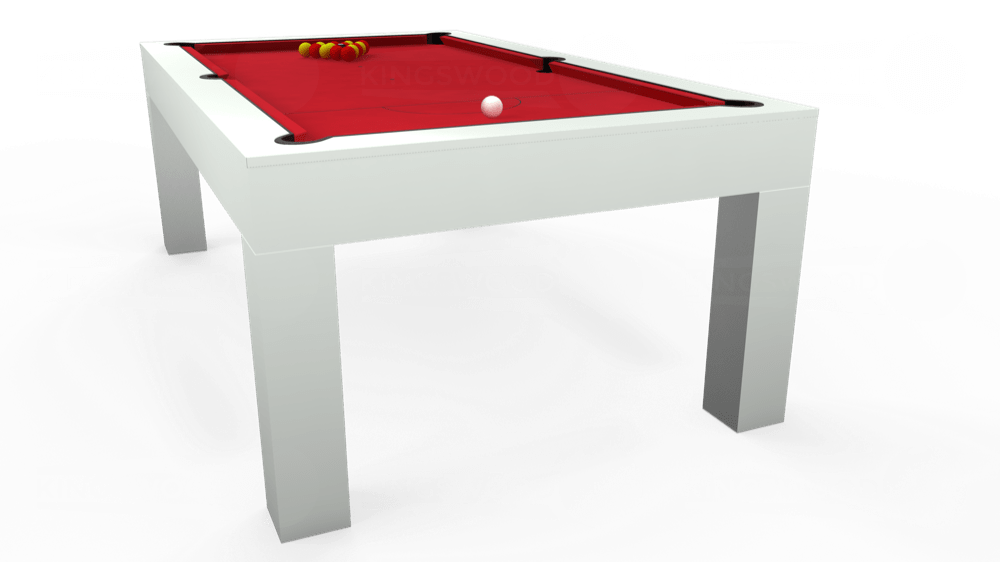 7ft Kingswood Aspen Pool Dining Table in Gloss White with Standard Red cloth delivered and installed - £2,200.00