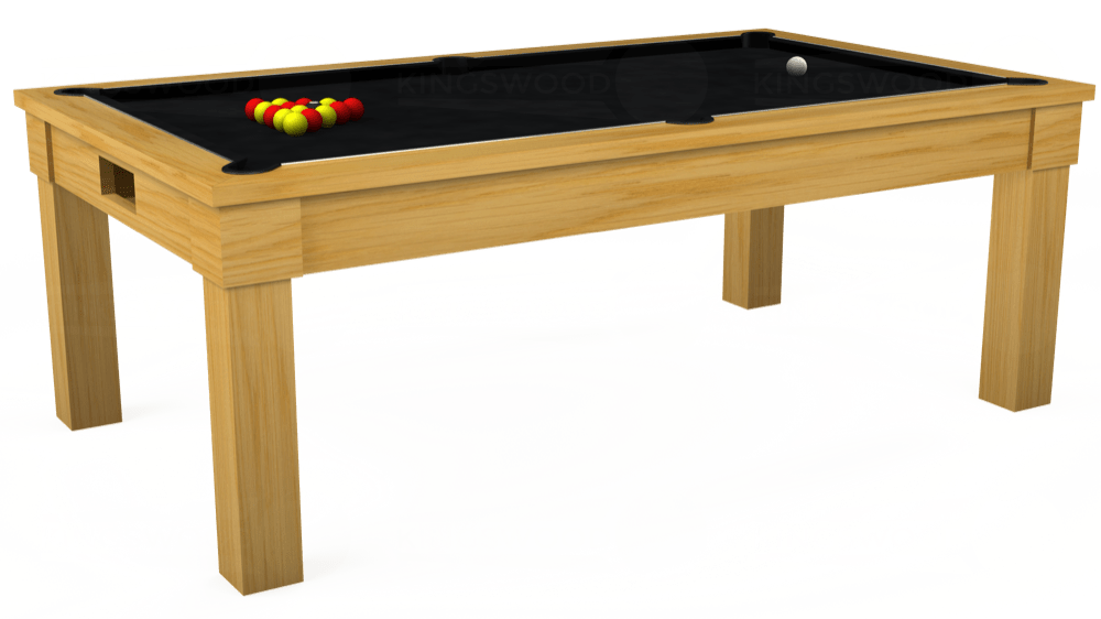7ft Kingswood Oak Pool Dining Table in Oak with Hainsworth Smart Black cloth delivered and installed - £1,800.00