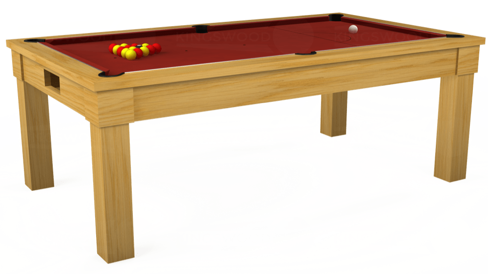 7ft Kingswood Oak Pool Dining Table in Oak with Hainsworth Smart Cherry cloth delivered and installed - £1,800.00