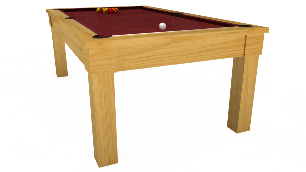 7ft Kingswood Oak Pool Dining Table in Oak with Hainsworth Smart Maroon cloth delivered and installed - £1,800.00