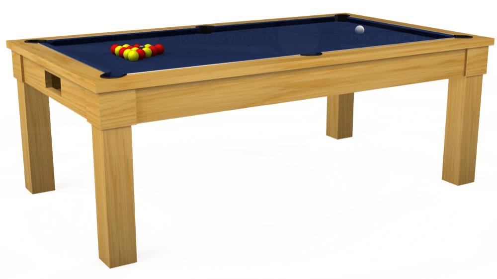 7ft Kingswood Oak Pool Dining Table in Oak with Hainsworth Smart Navy cloth delivered and installed - £1,800.00