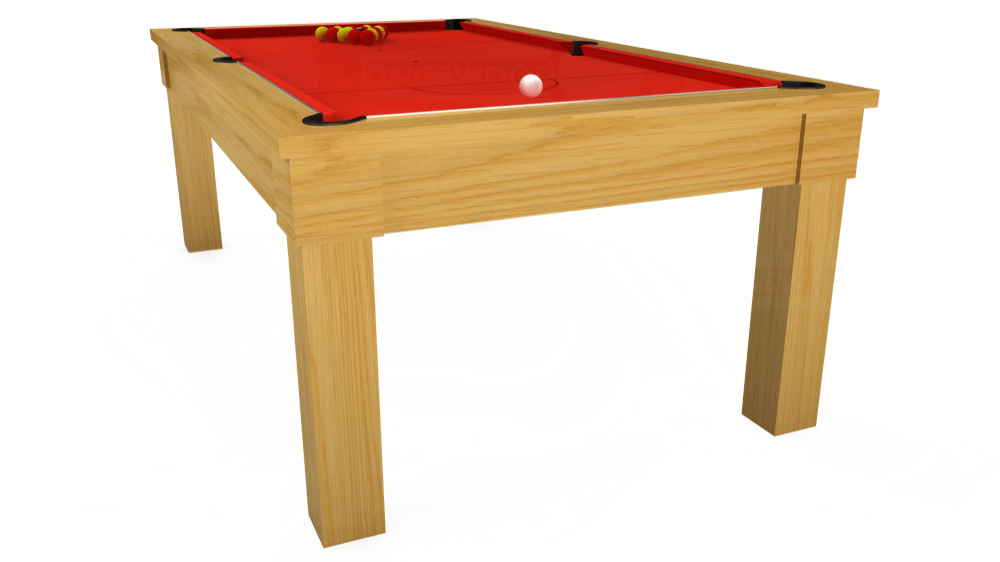 7ft Kingswood Oak Pool Dining Table in Oak with Hainsworth Smart Orange cloth delivered and installed - £1,800.00