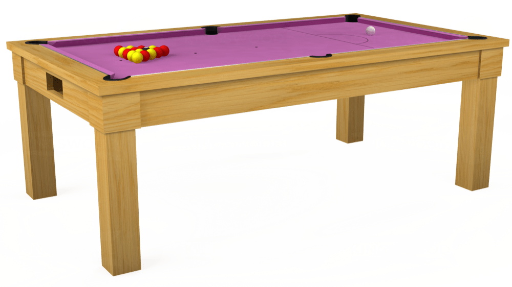 7ft Kingswood Oak Pool Dining Table in Oak with Hainsworth Smart Pink cloth delivered and installed - £1,800.00