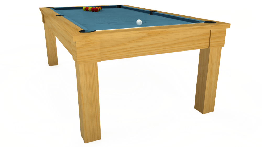 7ft Kingswood Oak Pool Dining Table in Oak with Hainsworth Smart Powder Blue cloth delivered and installed - £1,800.00