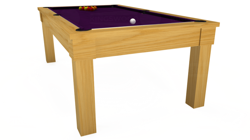 7ft Kingswood Oak Pool Dining Table in Oak with Hainsworth Smart Purple cloth delivered and installed - £1,800.00