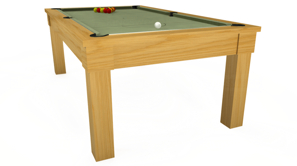 7ft Kingswood Oak Pool Dining Table in Oak with Hainsworth Smart Sage cloth delivered and installed - £1,800.00