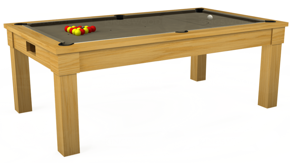 7ft Kingswood Oak Pool Dining Table in Oak with Hainsworth Smart Taupe cloth delivered and installed - £1,800.00