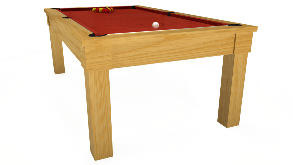 7ft Kingswood Oak Pool Dining Table in Oak with Hainsworth Smart Windsor Red cloth delivered and installed - £1,150.00