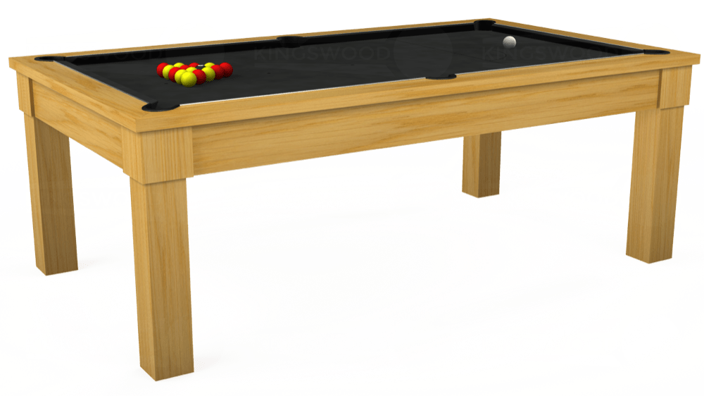 7ft Kingswood Oak Pool Dining Table in Oak with Standard Black cloth delivered and installed - £1,800.00