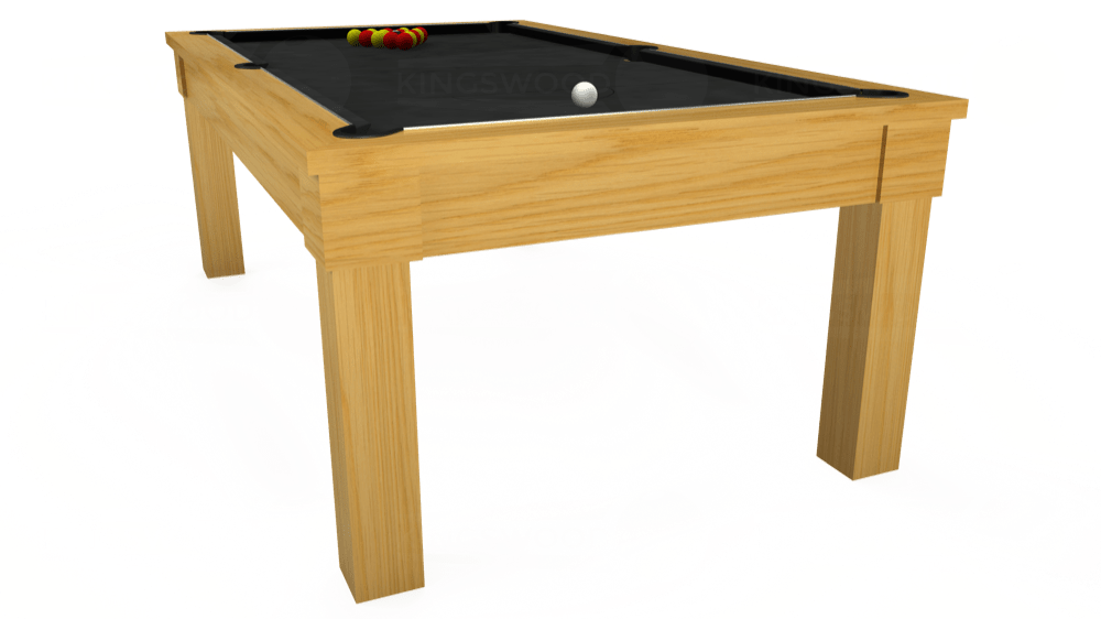 Ft Kingswood Oak Pool Table In Oak Standard Black Cloth - Pool dining table 7ft